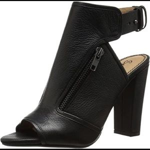 Splendid Janet open toe ankle boots black leather